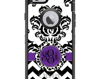 CUSTOM OtterBox Defender Case for Apple iPhone 6 6S 7 8 PLUS X 10 - Personalized Monogram - Black White Purple Damask Chevron