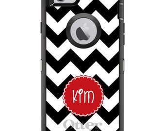 CUSTOM OtterBox Defender Case for Apple iPhone 6 6S 7 8 PLUS X 10 - Personalized Monogram - Black White Chevron Red Circle