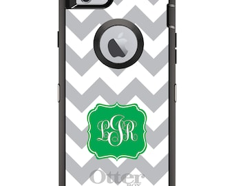 CUSTOM OtterBox Defender Case for Apple iPhone 6 6S 7 8 PLUS X 10 - Personalized Monogram - Grey White Chevron Green Frame