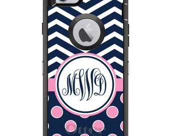 CUSTOM OtterBox Defender Case for Apple iPhone 6 6S 7 8 PLUS X 10 - Personalized Monogram - Navy Pink Polka Dots Chevron