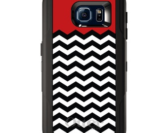Custom OtterBox Defender for Galaxy S5 S6 S7 S8 S8+ Note 5 8 Any Color / Font - Black White Red Chevron