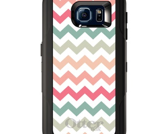 Custom OtterBox Defender for Galaxy S5 S6 S7 S8 S8+ Note 5 8 Any Color / Font - Pastel Chevron Wave Stripes