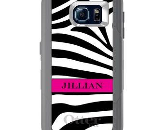 Custom OtterBox Defender for Galaxy S5 / S6 / Note 5 - CUSTOM Monogram & Image - Black White Zebra Stripe Pink