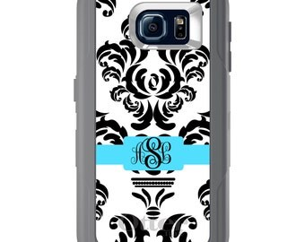 Custom OtterBox Defender for Galaxy S5 S6 S7 S8 S8+ Note 5 8 Any Color / Font - Black White Grey Blue Damask