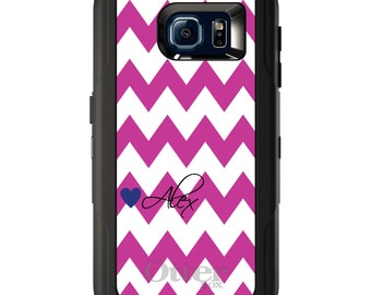 Custom OtterBox Defender for Galaxy S5 S6 S7 S8 S8+ Note 5 8 Any Color / Font - Pink White Chevron Heart Name