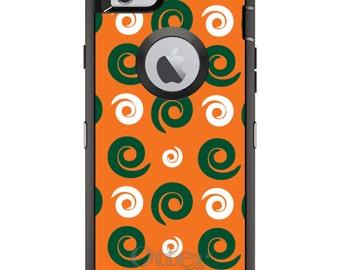 Custom OtterBox Defender Case for Apple iPhone 6 6S 7 8 PLUS X 10 - Monogram - University of Miami UM Hurricanes Colors - Swirls