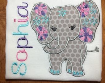 Personalized Elephant Shirt, Onesie, Romper or Dress