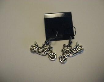 Motorcycle Earrings-Silver Color