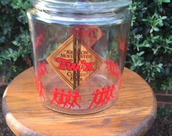 Twix candy cookie glass cookie jar with lid