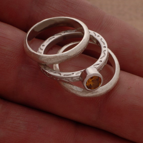 Citrine Triple Wedding Ring Set Engagement Gemstone Ring And