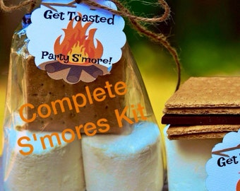 12 COMPLETE Smores Kits With Hersheys Chocolate Candy Bar & Smores Favors Tags ~ Smores Bar Candy ~ Smores Wedding Favor Rustic