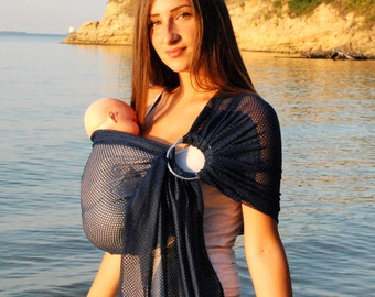 Mesh Water Sling/Summer Holiday Sling/Water Ring Sling//Baby Carrier/Summer Baby Sling/Ring sling/Navy Blue