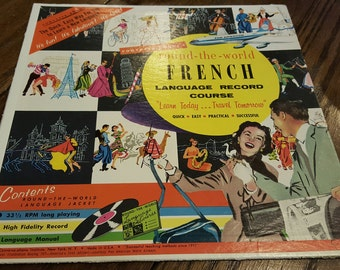 1957 Conversa-phone's Round the World French Language Record Course 33 1/3