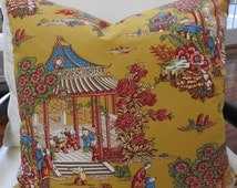 "French Toile de Jouy Reversible Pillow Cover Pierre Deux ""Les Mandarins"" & Mattress Ticking French Country Cottage"