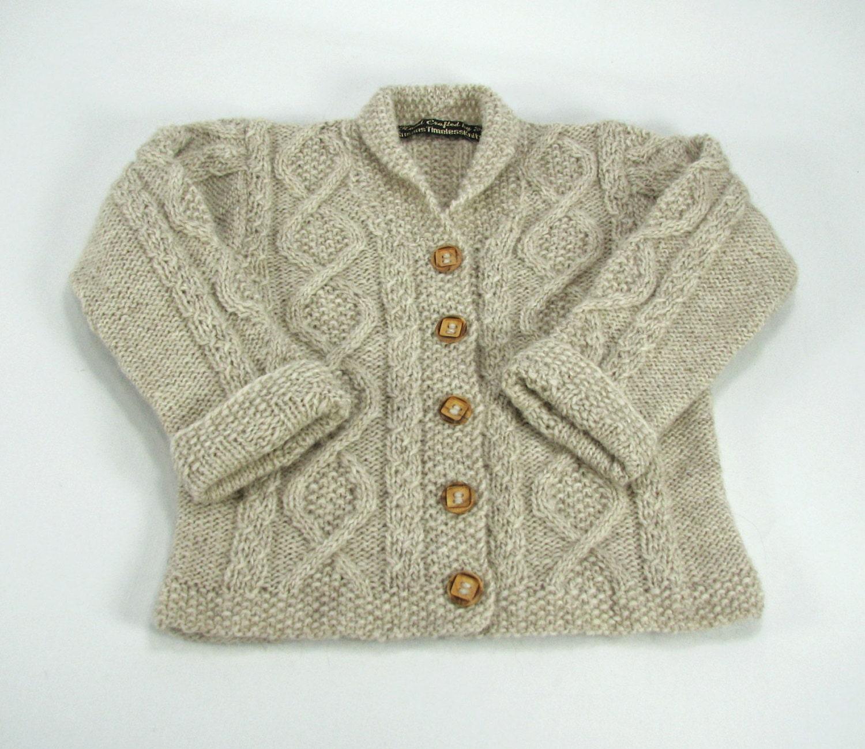 Alpaca Aran Knitting Pattern : Merino-Alpaca Aran Cable Baby Cardigan Sweater 9-12 Months