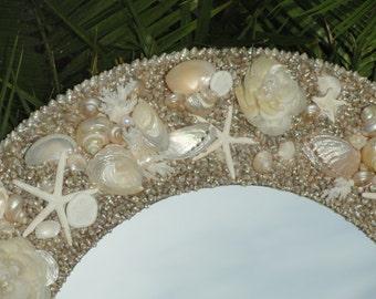 Beach decor, Coastal decor, Coastal mirror, Shell mirror, Seashell mirror, Coastal cottage, Beach house decor, Beach decor, Nautical decor