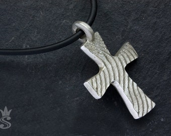 Cross Pendant. Sterling Silver. Handmade Jewelry. Cuttlebone fish casting.