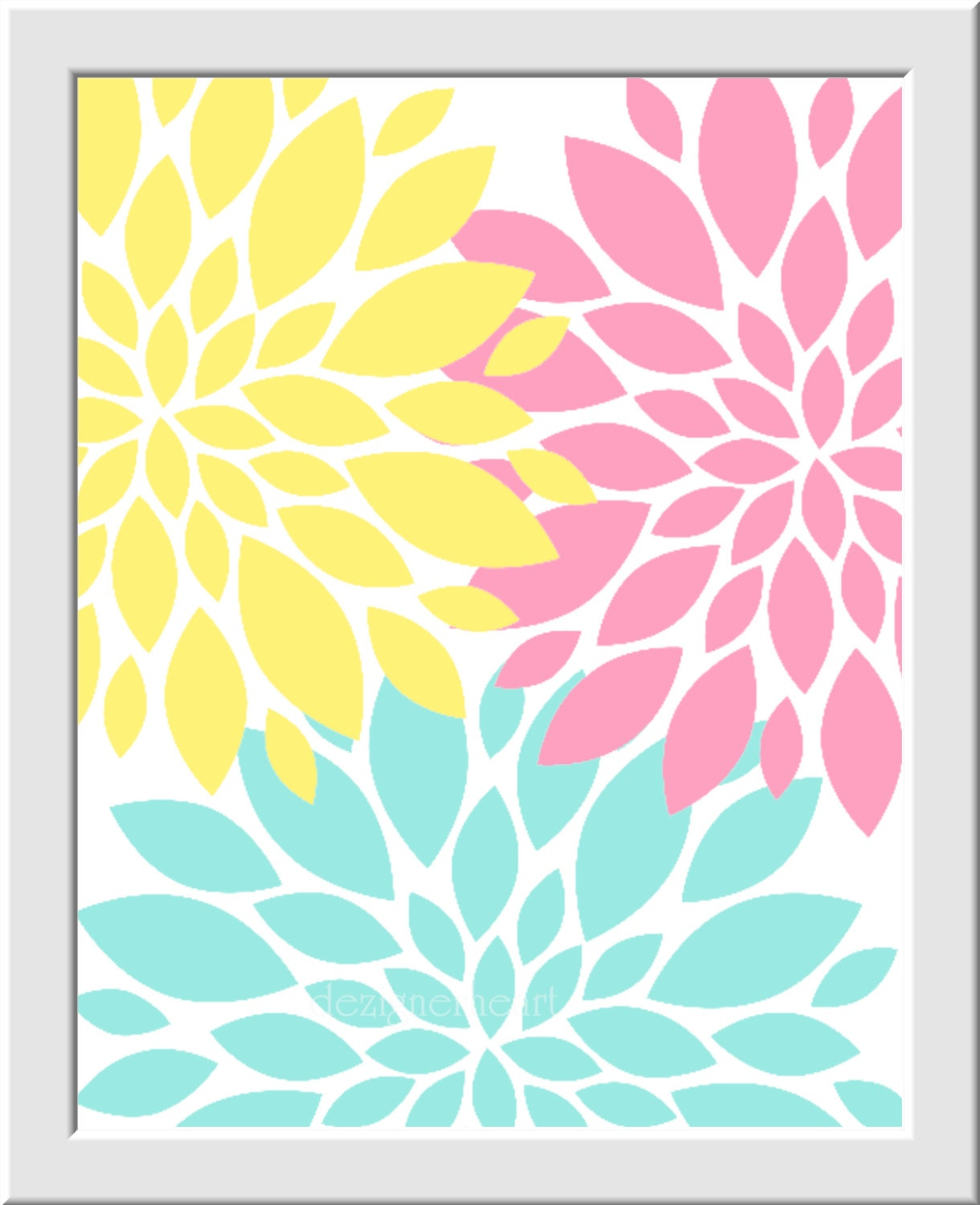 Baby Girl Nursery Decor Pink Aqua Yellow Flower Mums Dahlia ...
