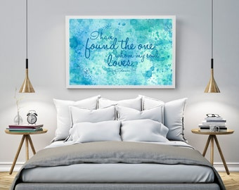 Blue Green Teal Watercolour Love Quote Christian Scripture Bible Verse Printable Wall Art Print