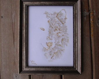 Wolf Silhouette Pyrography on Paper