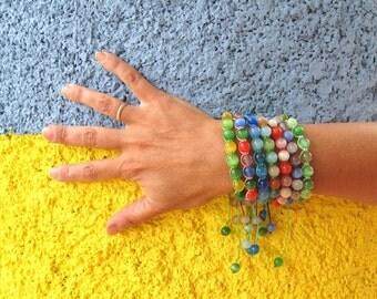 Summer bracelets party favor gift for girl Shamballa Bracelet small wrist sister bracelet teenagers jewelry unisex beaded bracelet cat's eye