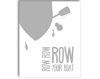 Row Row Row Your Boat Nursery Printable - Grey