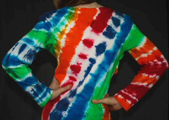 Hand Dyed Rainbow Youth Tie Dye Long Sleeve T-Shirt