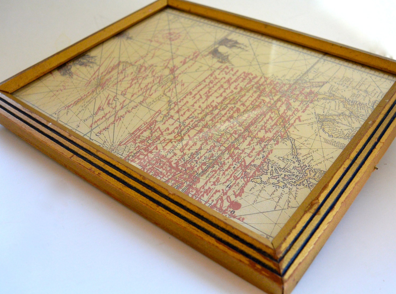 Vintage Gold Picture Frame With Blue Lines Home Decor