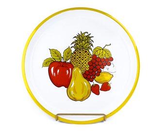 Large Round Fruit Cornucopia Apple Pear Grape Pineapple Serving Metal Tray
