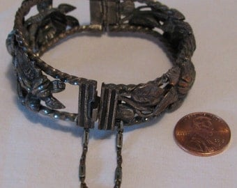 Unique Vintage Openwork Heavy Repousse Hinged Floral Motif Metal Bracelet with Long Link Safety Chain, Pewter?