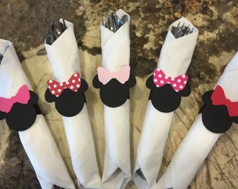 12 Minnie Mouse Napkin Ring - Choose Bow Color