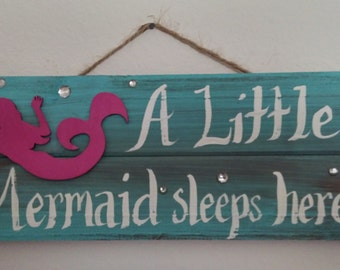 """READY TO SHIP 12 x 5 """"A Little Mermaid Sleeps Here"""" Wall Sign Pallet, Bright Magenta"""