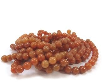 Red Aventurine Beads, Natural 8mm Round Red Aventurine, 16 inch Strand, 8mm Red Gemstone Beads, Beading Supplies, Item 588pm