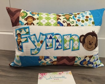 Royal Monkey nursery personalized pillow case, Robert Kaufman, 12x18 inches