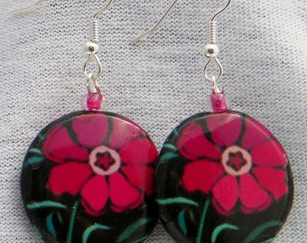 """Fuscia pink black floral flower graphic lightweight decoupage everyday earrings for her 2"""" drop funky"""