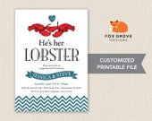 He's Her Lobster printable engagement party invitation / Customized digital file (5x7) / Printing services available in U.S.