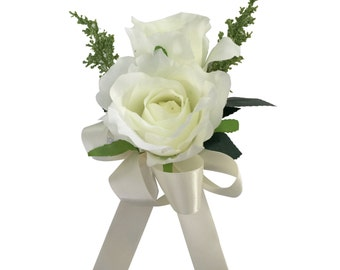 Wrist Corsage-Roses with greenery