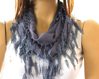 gray cotton scarf - laced scarf - gray scarves - summer scarf - fashion scarf - lace scarf - gray lace scarf - lace scarves - laced scarf