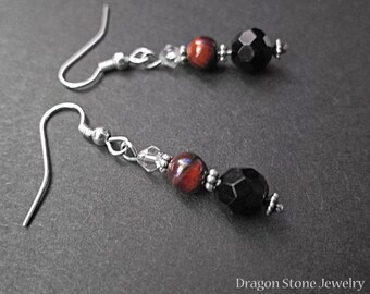 Red Tiger Eye and Faceted Onyx Earrings with faceted clear bead
