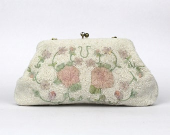 Floral Beaded Clutch - 50s Kiss Lock White and Pink Beaded Evening Bag - Vintage 1950s Beaded Handbag