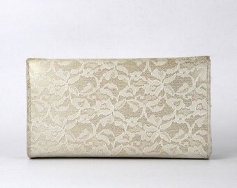 White Lace Clutch - Bridal Handbag - Vintage 1970s Satin Lace Evening Bag