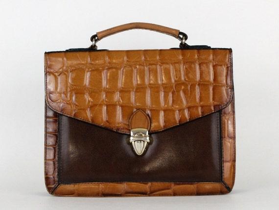 70s Brown Reptile Skin Handbag - Brown and Tan Purse - Vintage 1970s Brown Top Handle Leather Handbag