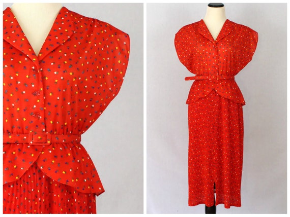 Red Peplum Dress - 70s Novelty Print Belted Secretary Dress - Vintage 1970s Tulip Print Dress