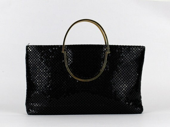 Black Metallic Handbag - Vintage 1980s Meal Mesh Chainmail Clutch Purse - Black Evening Bag