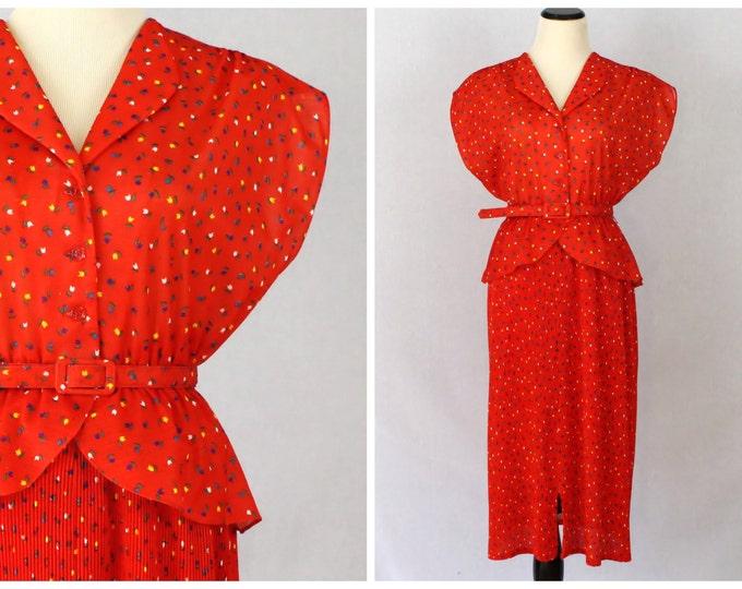 Red Peplum Dress - 70s Novelty Print Belted Secretary Dress - Vintage 1970s Tulip Print Dress