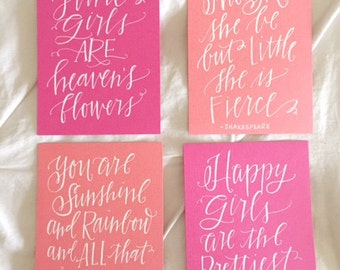 Baby Girl Quotes - Nursery Prints - Pink and Coral