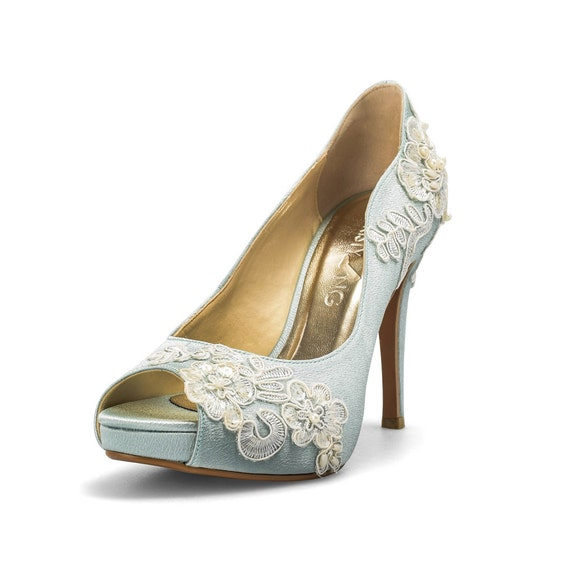 Something blue wedding shoes with lace powder blue bridal like this item junglespirit Image collections