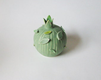 mint green ceramic vessel / pastel green porcelain vase / nature inspired bud vase by echo of nature by yumiko goto