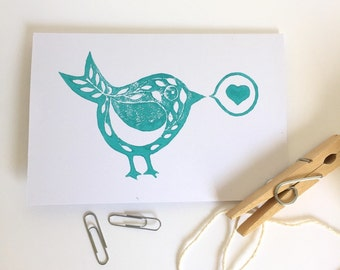 Bird Greeting Card.Linocut Greeting Card.All occasions card.Blank card