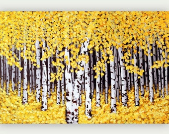 Birch Tree Print, Giclee Print, Yellow Birch Painting, Aspen Tree Art Print on Canvas from Original Landscape Painting, Birch Wall Art